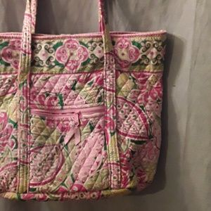 Vera Bradley pink and green tote